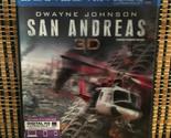 San Andreas 3D (3-Disc Blu-ray/DVD, 2015)+3D Slipcover.Dwayne Johnson.Earthquake