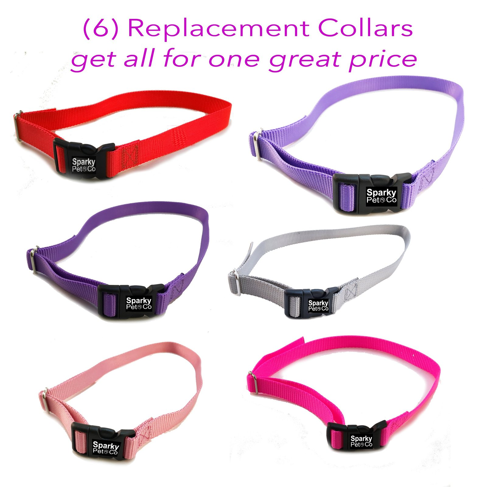 "3/4"" SOLID Girl Dog Colors Receiver Replacement Straps- Set of 6 Wireless Str..."