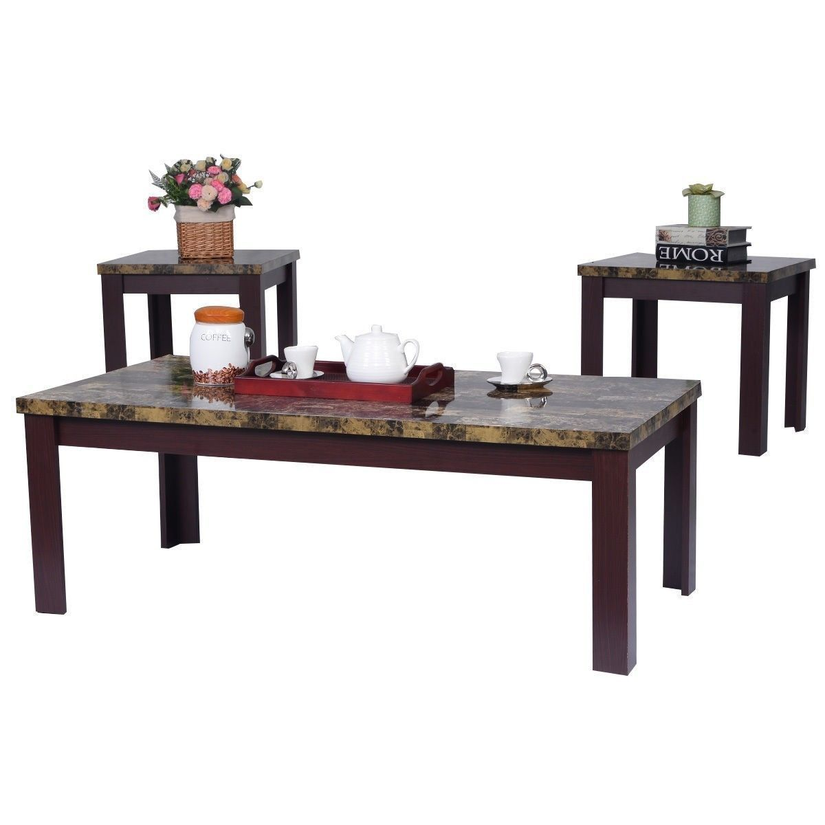 Faux marble coffee table set living room sofa accent end corner 3 piece set new tables Living room coffee table sets