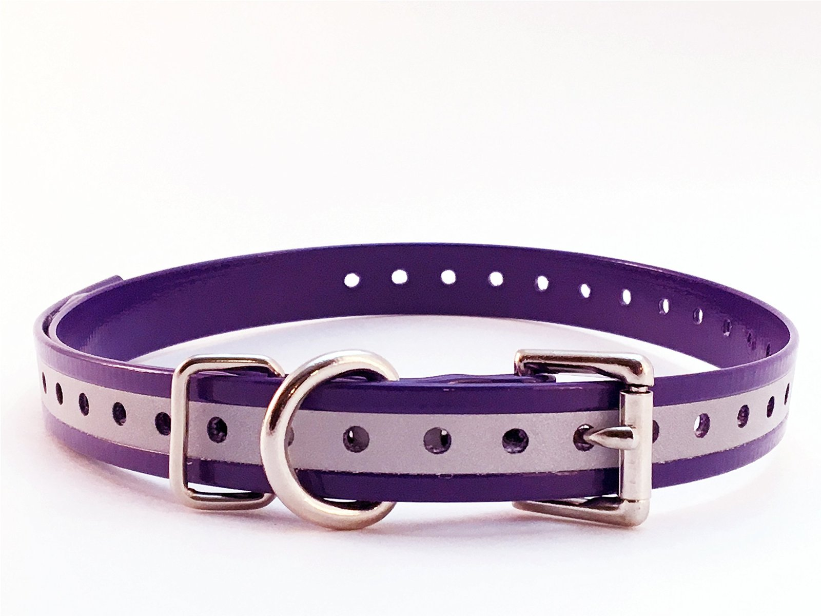 "E Collar Compatible 3/4"" Roller Buckle Hi Flex Reflective Strap Purple For Dogt."