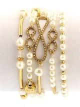 Womens Gold Tone Stretch Crystal Cream Pearl of Wisdom Bridal Eternity B... - $10.11