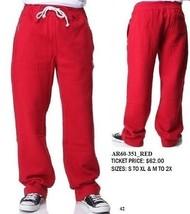 AKADEMIKS red casual sweat pants Mens fleece warm up gym jogging pants M... - $29.00