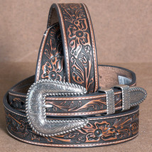 "32""-46"" NOCONA FLORAL EMBOSSED TAPERED 1-3/8"" LEATHER MENS COWBOY BELT B... - $39.95"