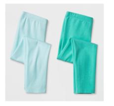 Cat & Jack Toddler Girls 2pk Leggings Pants Aqua and Green Size 4T NWT - $6.99