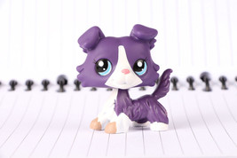 Littlest pet shop Collie Dog Puppy #1676 Purple White Blue Eyes Collection - $255,73 MXN