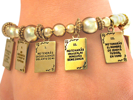 Stretch Bracelet TEN COMMANDMENTS SPANISH jewelry Gift FREE SHIPPING - $24.99