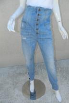 1980's Vintage GUESS Jeans Light Wash Super High Waisted Denim Button Fl... - $65.19