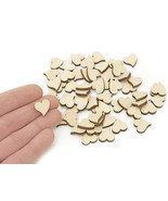 50pcs Mini Wooden Hearts (1.5cm) Shape Craft Embellishments Decoration MG000431 - $4.85