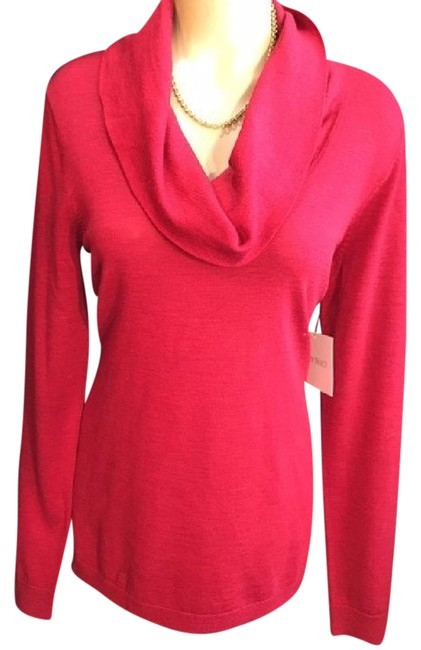 Primary image for Ellen Tracy Red Wool Turtleneck Sweater L NEW