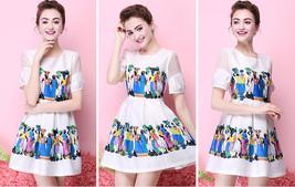 Summer British Style fashion Printed Slim Waist A Line Skirt Short Sleev... - $17.50