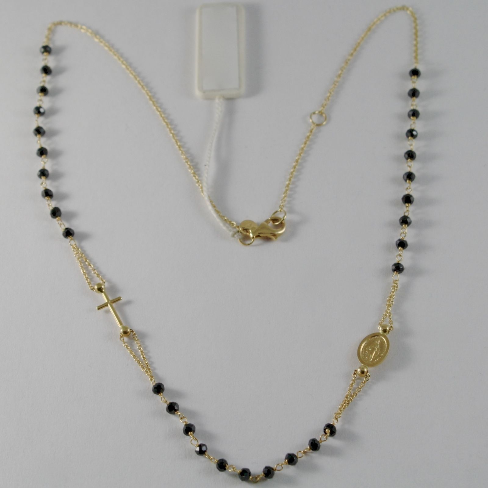 18K YELLOW GOLD ROSARY NECKLACE MIRACULOUS MEDAL & CROSS BLACK SPINEL ITALY MADE