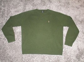 J. Crew Lambs Wool Sweater, Men's Large, Solid Green - $14.15