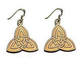 Celtic Triquetra Dangle Charm Earrings Gold Pltd Silver - $37.25