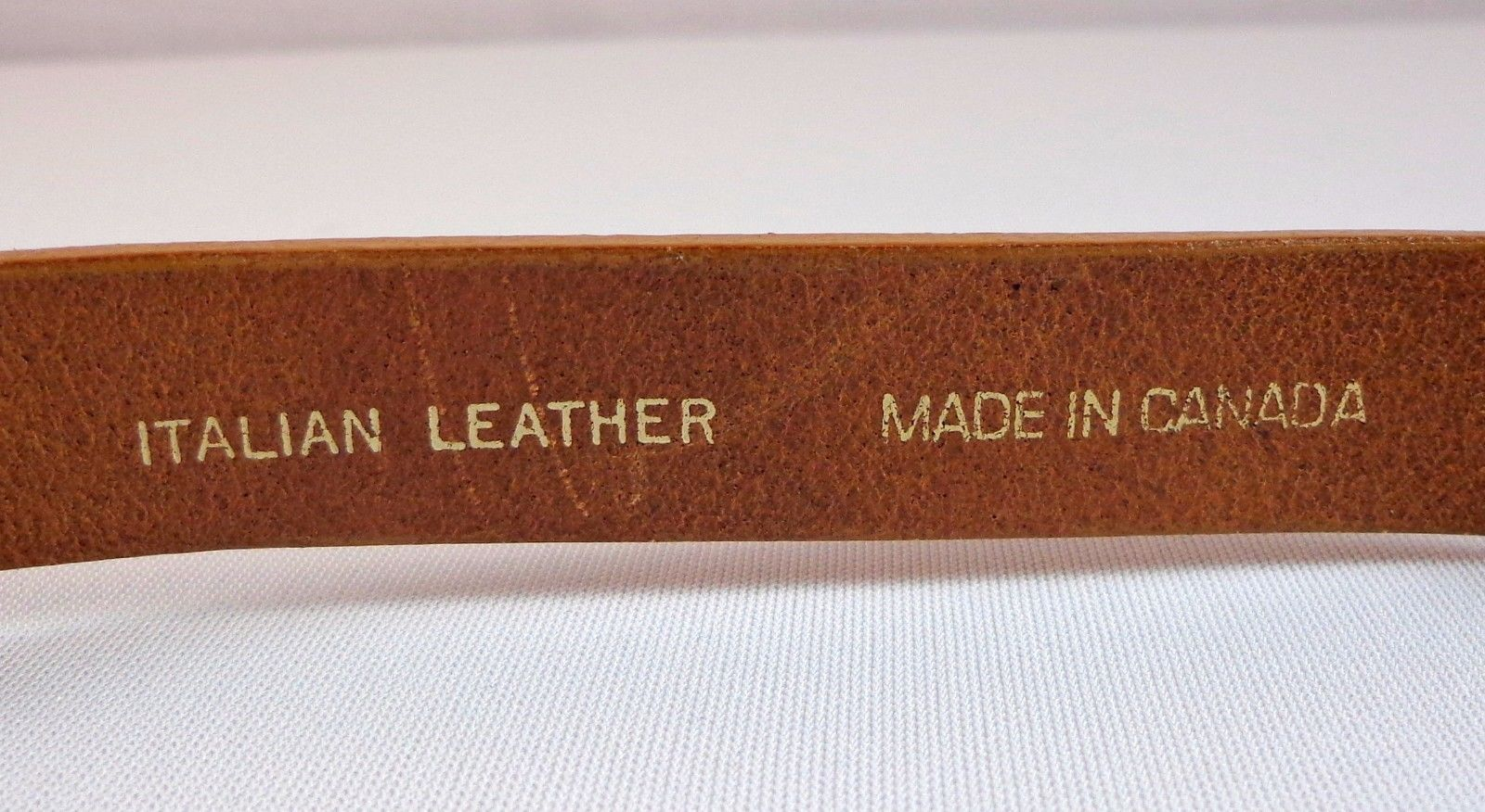 Chicos Womens Brown Italian Leather Adjustable Slide Belt S / M Made in Canada