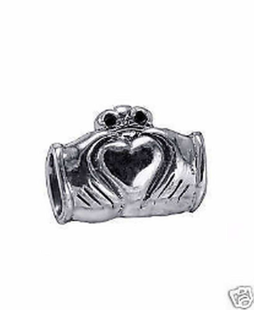 Real Sterling Silver Celtic Claddagh bead fit jewelry bracelets