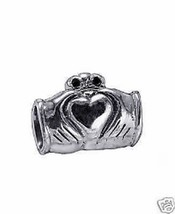 Real Sterling Silver Celtic Claddagh bead fit jewelry bracelets - $26.81