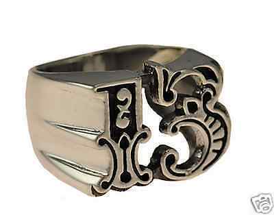 Heavy Lucky Number 13 Thirteen Sterling silver 925 ring