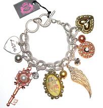 Pearl Crystal Heart Love Angel Wing Key Charm 3 Tri Tone Ring Toggle Bra... - $24.95