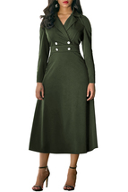 Army Green Vintage Button Collared Fit-and-flare Dress - $32.25