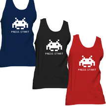 Press Start Funny Retro Classic Space Invaders Arcade Video Game Adult T... - €17,16 EUR+