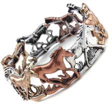 Western Running Horse Tri Silver Gold Rose Tone Eternity Animal Stretch ... - ₨1,221.27 INR