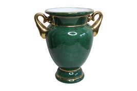 """Beautiful Green Porcelain Trophy Style Flower Vase Gold Accents 10.5"""" - $118.79"""