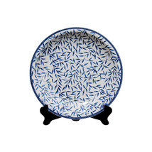 "Beautiful Blue and White Bamboo Leaf Style Porcelain Plate 18"" - $188.09"