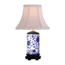 """Blue and White Motif Cylindrical Porcelain Vase Table Lamp 15"""" - $118.79"""