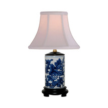 Blue and White Floral Motif Cylindrical Porcela... - $118.79