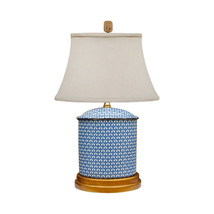 """Blue and White Geometric Oval Porcelain Vase Table Lamp 19.5"""" - $178.19"""