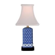 Blue and White Geometric Square Porcelain Vase ... - $118.79