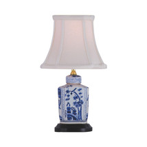 "Blue and White Floral Porcelain Tea Caddy Table Lamp 13.5"" - $108.89"