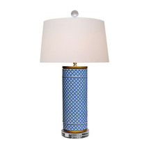 "Beautiful Blue and White Cylindrical Geometric Porcelain Table Lamp 26"" - $316.79"