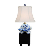 "Blue and White Floral Pattern Turtle Figurine Table Lamp 16"" - €110,09 EUR"