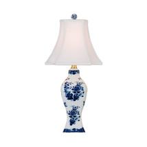 "Cute Blue and White Porcelain Floral Motif Vase Table Lamp 16"" - $128.69"