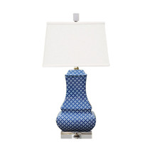 "Beautiful Blue and White Geometric Porcelain Vase Table Lamp 24"" - $247.49"