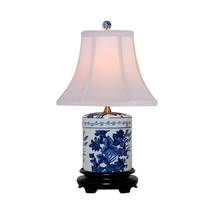 """Blue and White Floral Round Jar Porcelain Table Lamp 18"""" - $148.49"""
