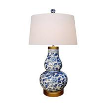 "Blue and White Floral Gourd Vase Porcelain Table Lamp 30"" - $296.99"