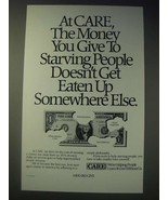 1989 Care Charity Ad - At CARE, the money you give to starving people - $14.99