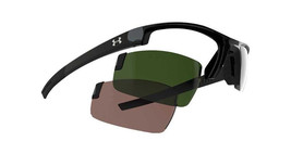 Under Armour UA Stride S Men's Sunglasses Shiny Black Frame Green & Crim... - $82.23