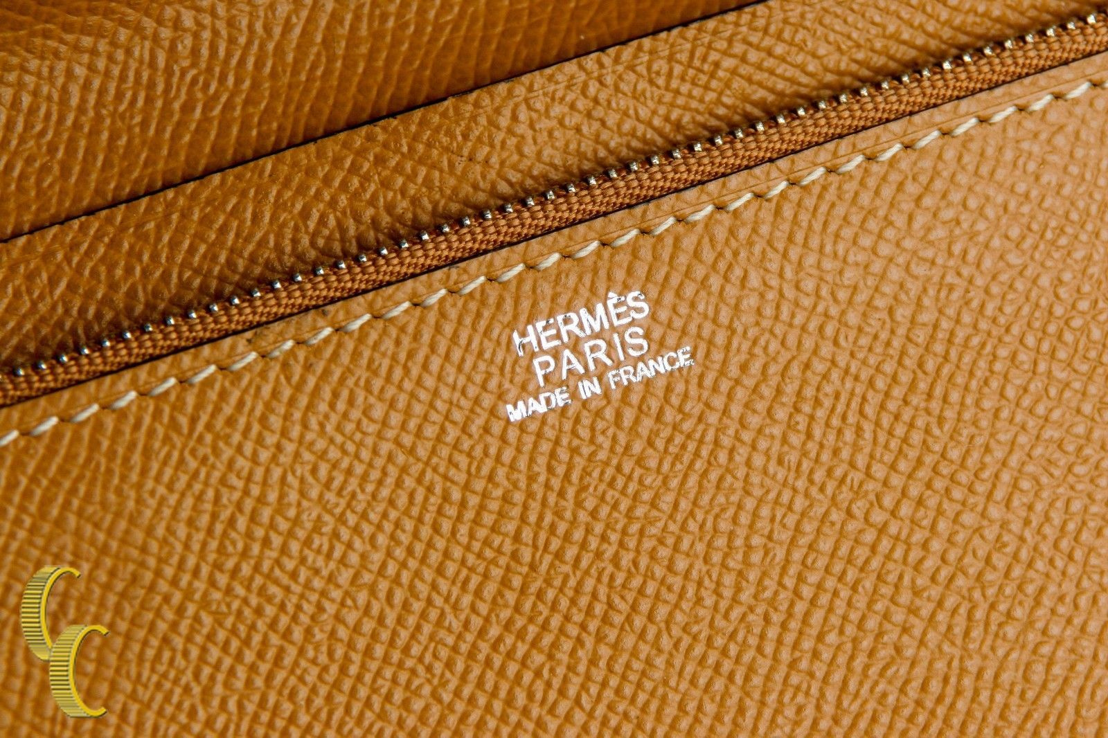 HERMES Paris Chevre Mysore Azap GM Combined Wallet in Tan