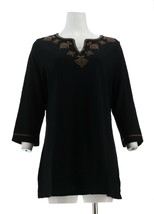 Liz Claiborne NY Knit Tunic Embroidery 3/4 Slv V Neck Black Mocha M NEW A266173 - $26.71