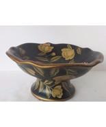 Ceramic Black and Gold Floral Leaf  Pedestal Bowl - $36.62
