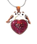 Two LOVE BIRDS  Pendant Austrian Crystal with Chain VALENTINES DAY - $68.61