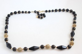 Vintage Liz Claiborne Black Gold Tone Bead Adjustable Necklace - $12.86