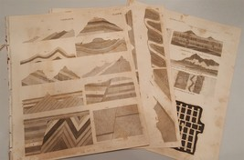 1800s antique LOT 3p GEOLOGY ENGRAVING art print plate coal mining irish... - $28.95