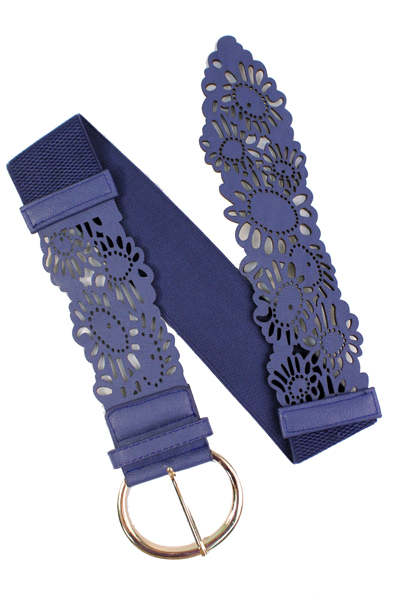 Navy Daisy Cutout Wide Stretch Belt, Adjustable Floral Layering Belt, Elastic