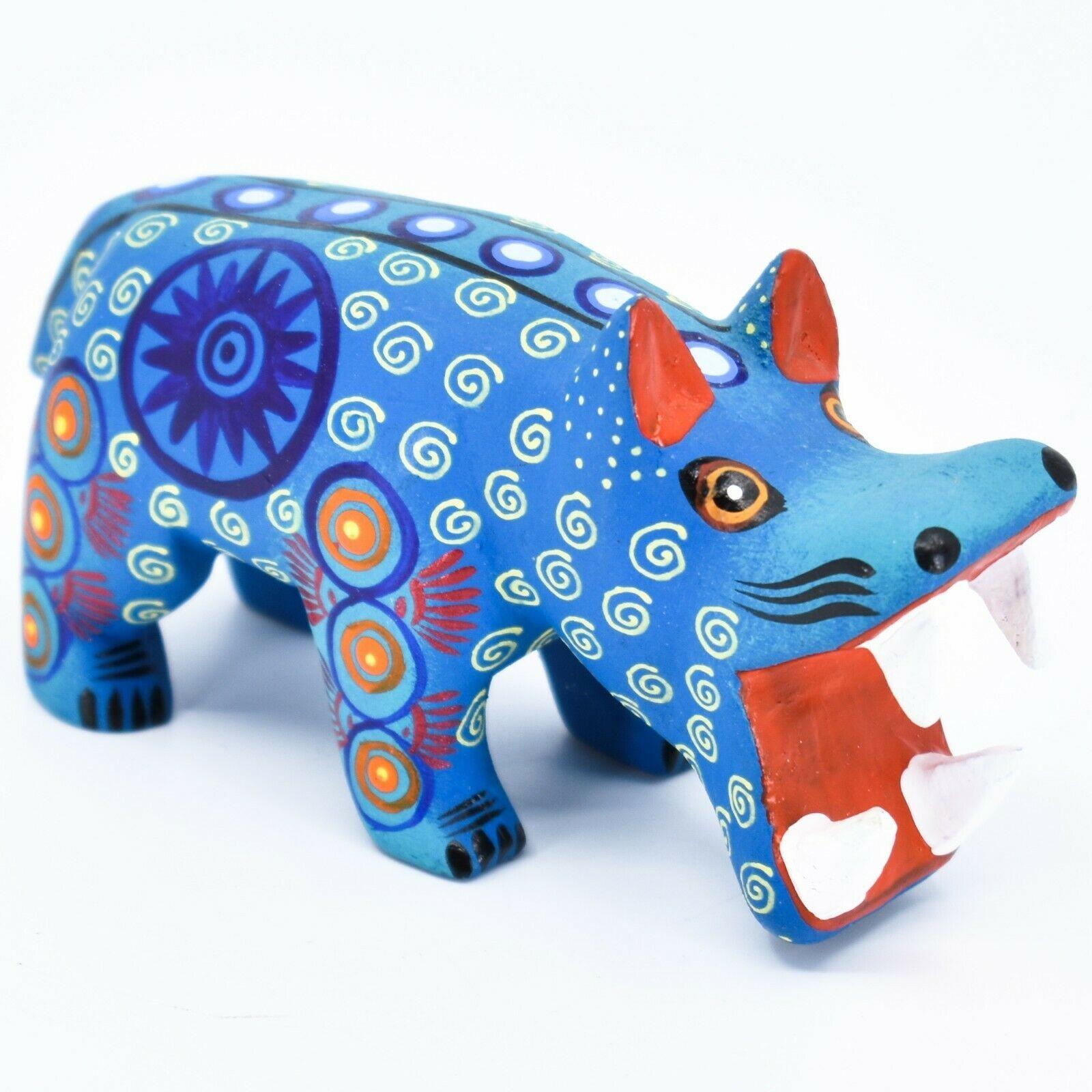 Handmade Alebrijes Oaxacan Wood Carved Painted Folk Art Hippo Hippopotamus