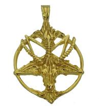10k Gold Real genuine Authentic charm Satan Goat Baphomet occult Pentagr... - $1,200.87