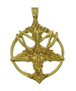 10k Gold Real genuine Authentic charm Satan Goat Baphomet occult Pentagr... - $1,200.87